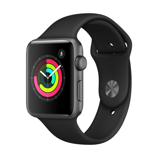 Apple Watch Series 3 GPS 42mm Aluminiumgehäuse Space Grau Sportarmband Schwarz
