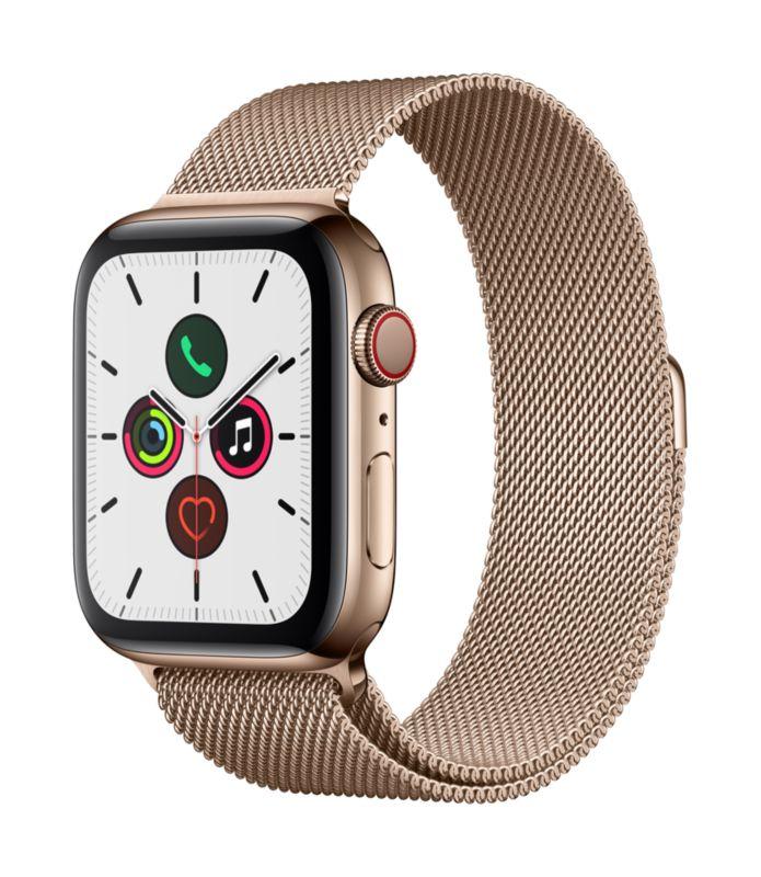 Apple Watch Series 5 LTE 44mm Edelstahlgehäuse Gold mit Milanaisearmband