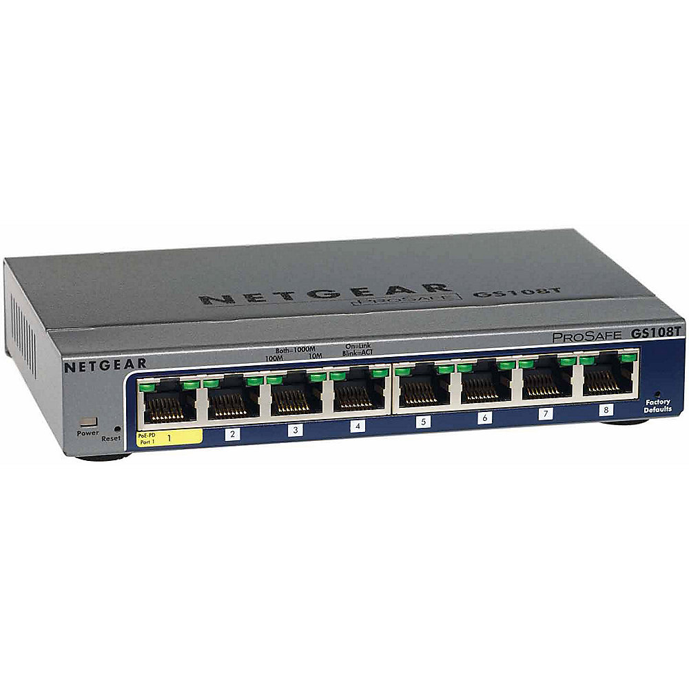 Netgear GS108Tv2 8 Port Gigabit Ethernet Smart Switch PoE-PD
