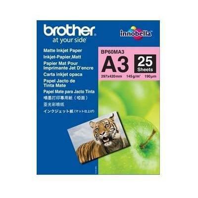 Brother  BP60MA3 Mattes Inkjetpapier-A3, Paket mit 25 Blatt, 145 g/qm | 4977766661553