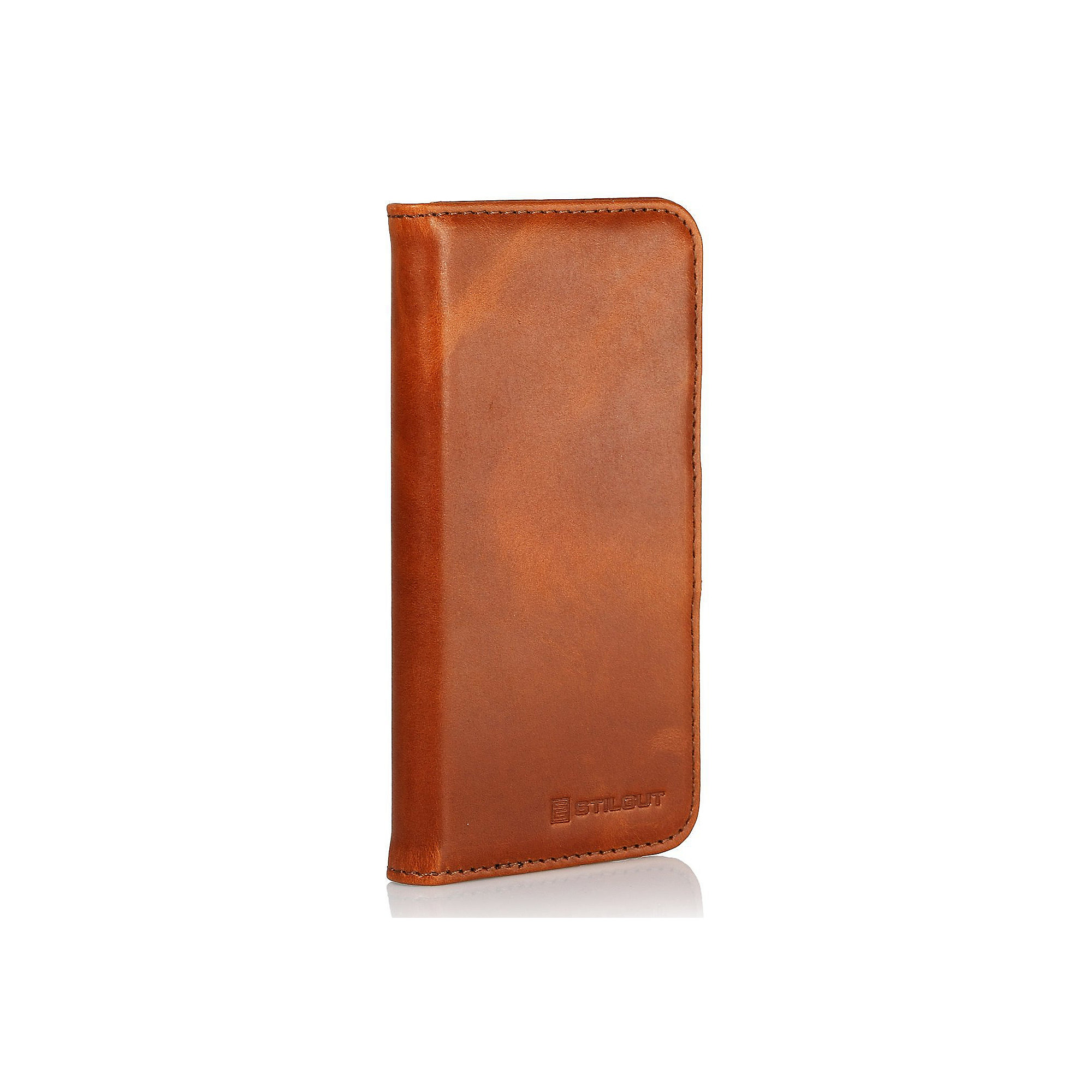 "StilGut ""Talis"" Book Type Case V2 Ledertasche für iPhone 5 cognac braun"