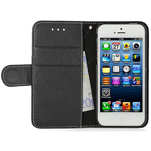 "StilGut ""Talis"" Book Type Case V2 Ledertasche für iPhone 5/5s schwarz"