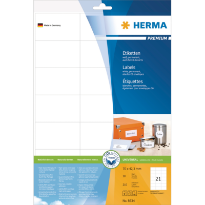 Herma  8634 Etiketten Premium A4, weiß 70×42,3 mm Papier matt 210 St. | 4008705086349