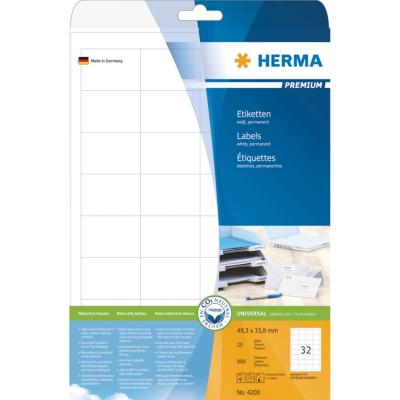 Herma  4200 Etiketten Premium A4, weiß 48,3×33,8 mm Papier matt 800 St. | 4008705042000