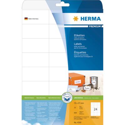 Herma  4390 Etiketten Premium A4, weiß 70×37 mm Papier matt 600 St. | 4008705043908