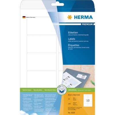 Herma  5028 Etiketten Premium A4, weiß 83,8×50,8 mm Papier matt 250 St. | 4008705050289