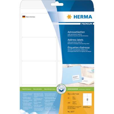 Herma  5077 Adressetiketten Premium A4, weiß 99,1×67,7 mm Papier matt 200 St. | 4008705050777