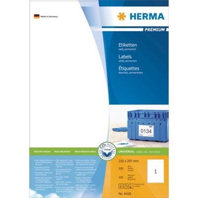 Herma  4428 Etiketten Premium A4, weiß 210×297 mm Papier matt 100 St. | 4008705044288