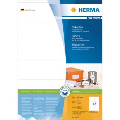 Herma  4457 Etiketten Premium A4, weiß 105×48 mm Papier matt 1200 St. | 4008705044578