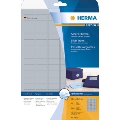 Herma  4110 Etiketten A4 silber 30,5×16,9 mm Folie glänzend 2400 St. | 4008705041102