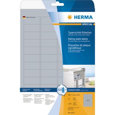 Herma  4221 Typenschildetiketten A4 silber 45,7×21,2 mm haftend Folie 1200 St. | 4008705042215