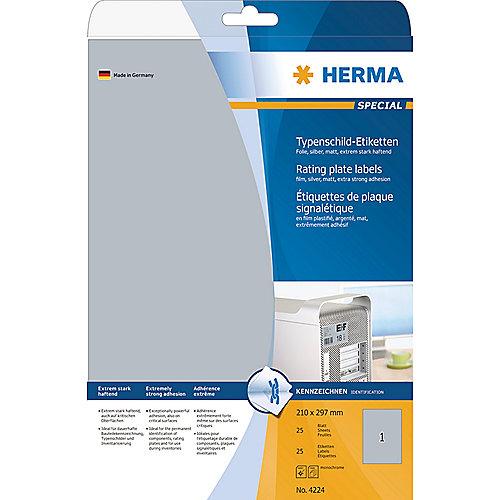 HERMA 4224 Typenschildetiketten A4 silber 210×297 mm haftende Folie 25 St. | 4008705042246