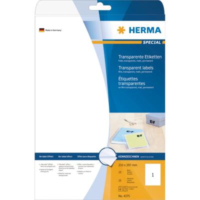 Herma  4375 Etiketten transparent matt A4 210×297 mm Folie 25 St. | 4008705043755
