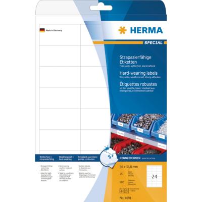 Herma  4691 Etiketten strapazierfähig A4 weiß 66×33,8 mm haftende Folie 600 St. | 4008705046916