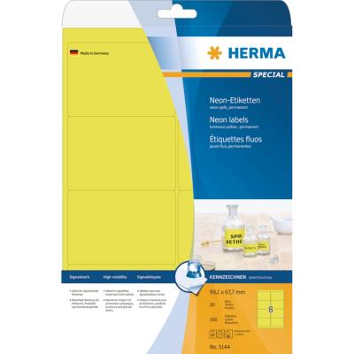 Herma  5144 Etiketten A4 neon-gelb 99,1×67,7 mm Papier matt 160 St. | 4008705051446