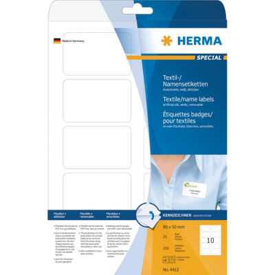 Herma  4412 Namens-/Textiletiketten A4 80×50 mm trennbar weiß ablösbar 250 St. | 4008705044127