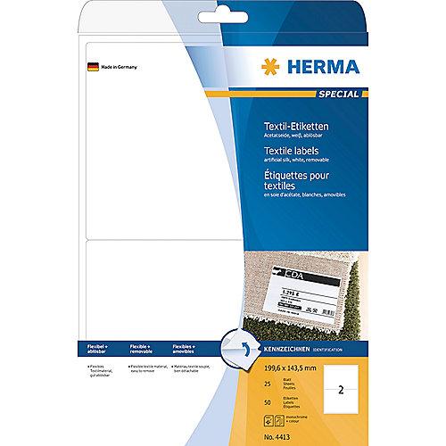 HERMA 4413 Textiletiketten A4 weiß 199,6×143,5 mm ablösbar Acetatseide 50 St. | 4008705044134