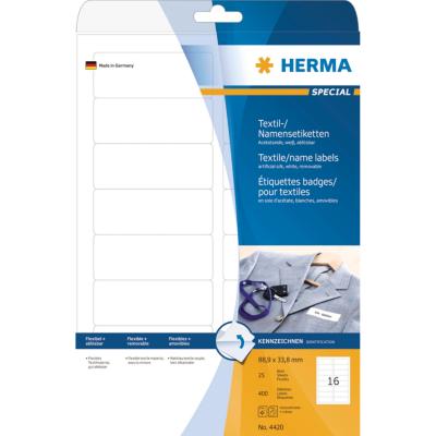 Herma  4420 Namens-/Textiletiketten A4 weiß 88,9×33,8 mm ablösbar 400 St. | 4008705044202