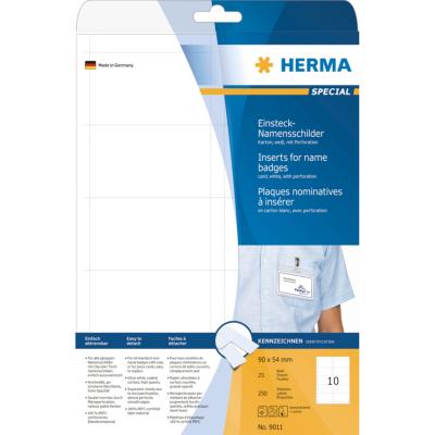 Herma  9011 Namens-Einsteckschild A4 90×54 mm weiß Karton nicht klebend 250 St. | 4008705090117