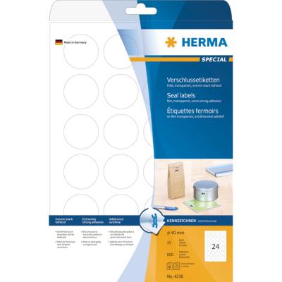 Herma  4236 Verschlussetiketten transparent Ø 40 mm rund haftende Folie 600 St. | 4008705042369