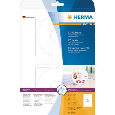 Herma  5079 CD-Etiketten A4 weiß Ø 116 mm Papier matt blickdicht 50 St. | 4008705050791