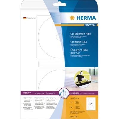 Herma  5115 CD-Etiketten Maxi A4 weiß Ø 116 mm Papier matt blickdicht 50 St. | 4008705051156