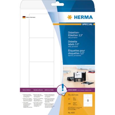 Herma  4355 Disketten-Etiketten weiß 70×67,7 mm Papier matt 200 St. | 4008705043557