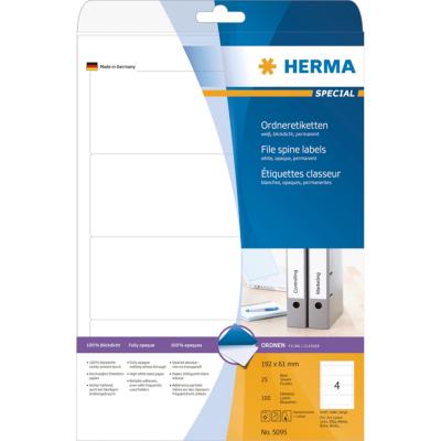 Herma  5095 Ordneretiketten A4 weiß 192×61 mm Papier matt blickdicht 100 St. | 4008705050951