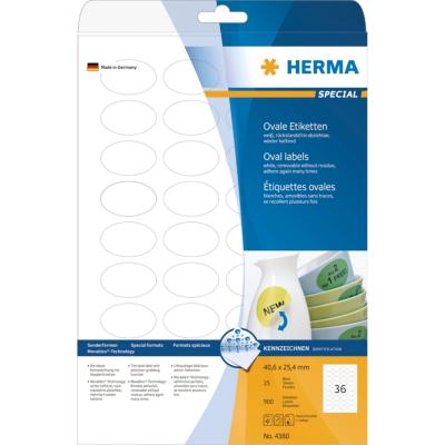 Herma  4380 Etiketten A4 weiß 40,6×25,4 mm oval Movables/ablösbar matt 900 St. | 4008705043809