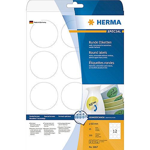 HERMA 5067 Etiketten A4 weiß Ø 60 mm rund Movables/ablösbar Papier matt 300 St. | 4008705050678
