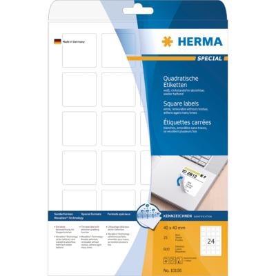 Herma  10108 Etiketten A4 weiß 40×40 mm quadratisch Movables/ablösbar matt 600 St | 4008705101080