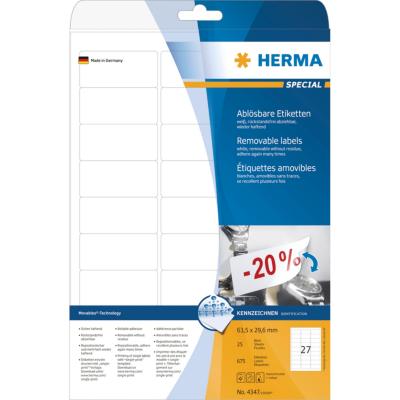 Herma  4347 Etiketten A4 weiß 63,5×29,6 mm Movables/ablösbar matt 675 St. | 4008705043472