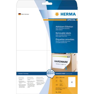 Herma  5082 Etiketten A4 weiß 105×148 mm Movables/ablösbar matt 100 St. | 4008705050821