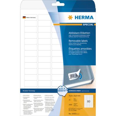 Herma  10003 Etiketten A4 weiß 35,6×16,9 mm Movables/ablösbar matt 2000 St. | 4008705100038