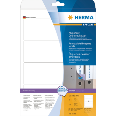 Herma  10165 Ordneretiketten A4 weiß 192×61 mm Movables/ablösbar blickdicht 100 S | 4008705101653