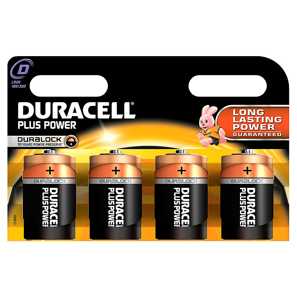 DURACELL Plus Power Batterie Mono D LR20 4er Blister