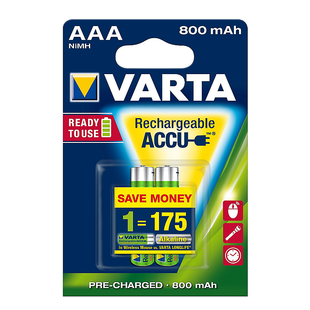 VARTA Ready2Use Akku Micro AAA HR3 2er Blister (800 mAh)