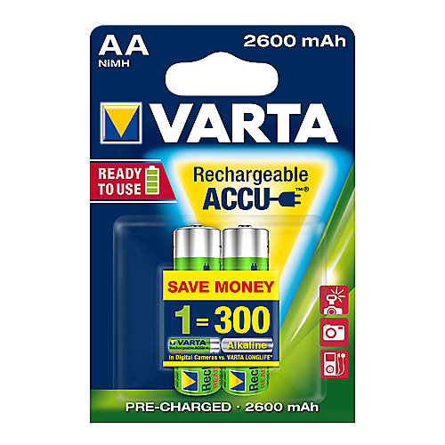 VARTA Ready2Use Akku Mignon AA HR6 2er Blister (2600 mAh)