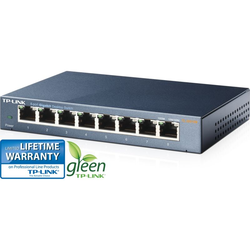TP-LINK TL-SG108 8x Port Desktop Gigabit Switch Metall