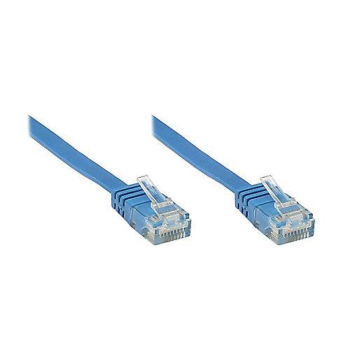Good Connections Patchkabel Cat. 6 ungeschirmt Flachkabel blau 0,5m