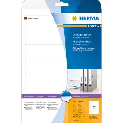 Herma  5090 Ordneretiketten A4 weiß 192×38 mm Papier matt blickdicht 175 St. | 4008705050906