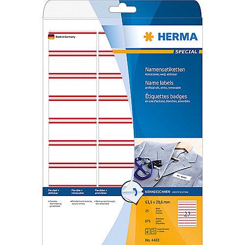 HERMA 4418 Namens-/Textiletiketten A4 63,5×29,6mm rot ablösbar 675 St. Acetat | 4008705044189