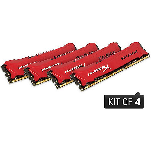 32GB (4x8GB) Kingston HyperX Savage rot DDR3-1600 CL9 RAM Kit