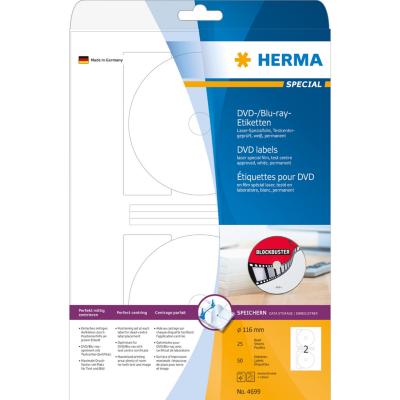 Herma  4699 DVD-/Blu-ray-Etiketten Maxi A4 Ø 116 mm weiß Folie matt 50 St. | 4008705046992