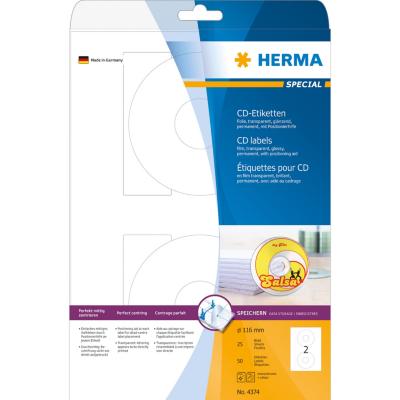 Herma  4374 CD-Etiketten A4 Ø 116 mm transparent Folie glänzend 50 St. | 4008705043748