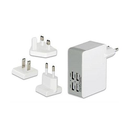 Universelles Reise-Ladegerät (EU/UK/US) 4x USB-Ports