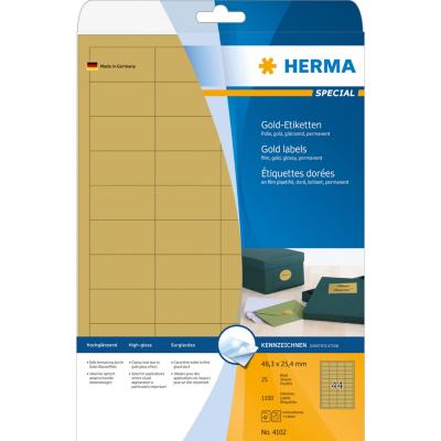 Herma  4102 selbstklebende glänzende Etiketten Polyester 48,3×25,4 mm Gold 1100St | 4008705041027