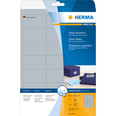 Herma  4113 Etiketten A4 63,5×38,1 mm silber Folie glänzend 525 St. | 4008705041133