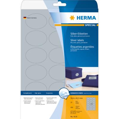 Herma  4116 Etiketten A4 58,4×42,3 mm silber oval Folie glänzend 450 St. | 4008705041164