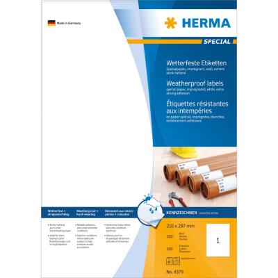 Herma  4379 Etiketten 210×297 mm weiß extrem stark haftend Papier imprägn. 100Stk | 4008705043793